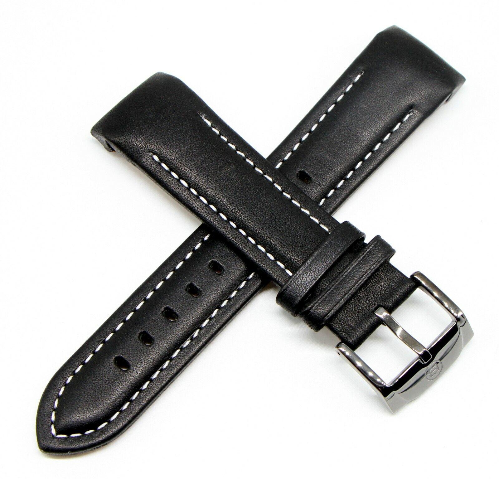Ben & Sons Uhrenarmband 24MM Schwarz aus echtem Leder für Modell Mercury