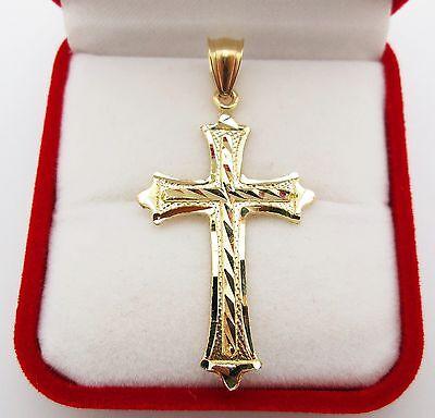 - Mens 10k Yellow Gold Cross Pendant Diamond Cut Gold Crucifix Charm
