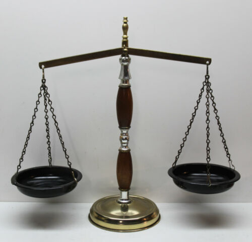 ⚖ Vintage Scales of Justice Lawyer Attorney Scale - Metal & Wood Construction