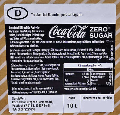 Coca Cola Zero Postmix Sirup - 10l BiB - inkl. 4 GRATISPROBEN...