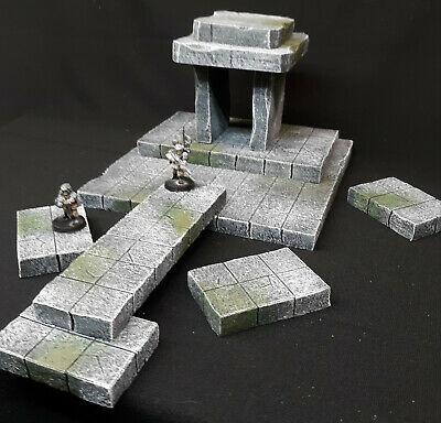 Wargame Terrain Mossy Stone Temple Ruin Battle Grid Tiles Dungeons Dragons -