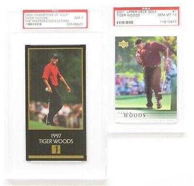 2 Tiger Woods Rookie Cards 1998 PSA NEAR MINT 7 & 2001 PSA GEM MNT 10 Upper Deck