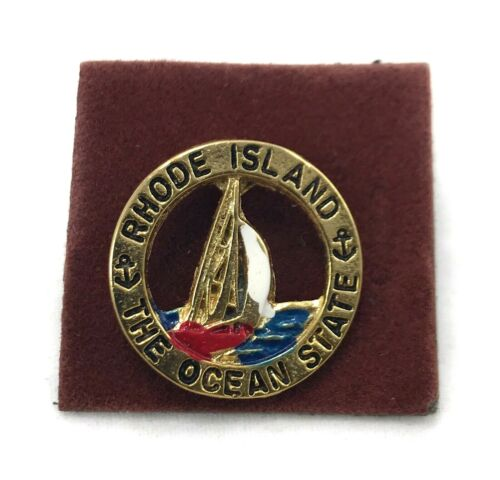 Rhode Island The Ocean State Lapel Pin - Sailboat Butterfly Clutch Back Closure