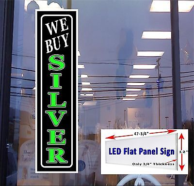 We Buy Silver Led Flat Panel Light Box Window Sign 48x12- We Buy Gold Available