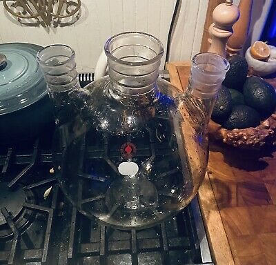 Vintage Ace Glass Pyrex Usa 12000ml 12l 3-neck Morton Round Bottom Flask