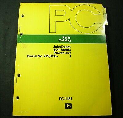 John Deere 404 Series Power Unit Parts Manual Book List Catalog Jd