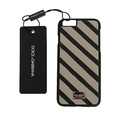 NEW $200 DOLCE & GABBANA Phone Case White Black Striped Logo Leather iPhone6