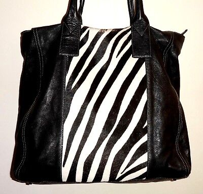 (GIANNOTTI Large Zebra Calf-Hair & Black Leather 14