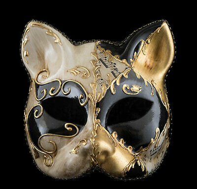 Mask Cat Venetian Carnival Venice Lully Black Golden Painted Handmade 1953 -V20