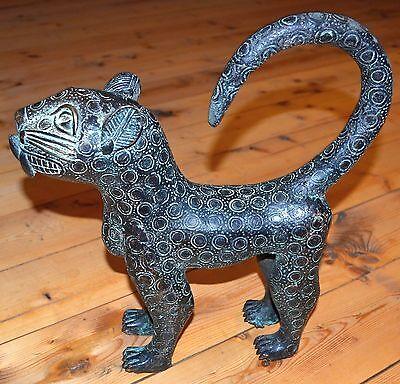 Old African Benin Kingdom Bronze Standing Leopard Lost Wax Statue Nigeria Africa