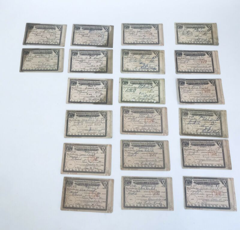 Lot 19 Odd Fellows Official Certificate Membership Embossed Seal Ohio '50s-'60s