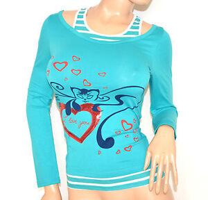 MAGLIETTA-donna-TURCHESE-sottogiacca-maglia-manica-lunga-t-shirt-cotone-F50