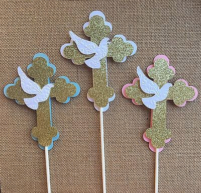 Cross  centerpieces/ Pink and Gold  Cross/ Baptism centerpieces stick/cross