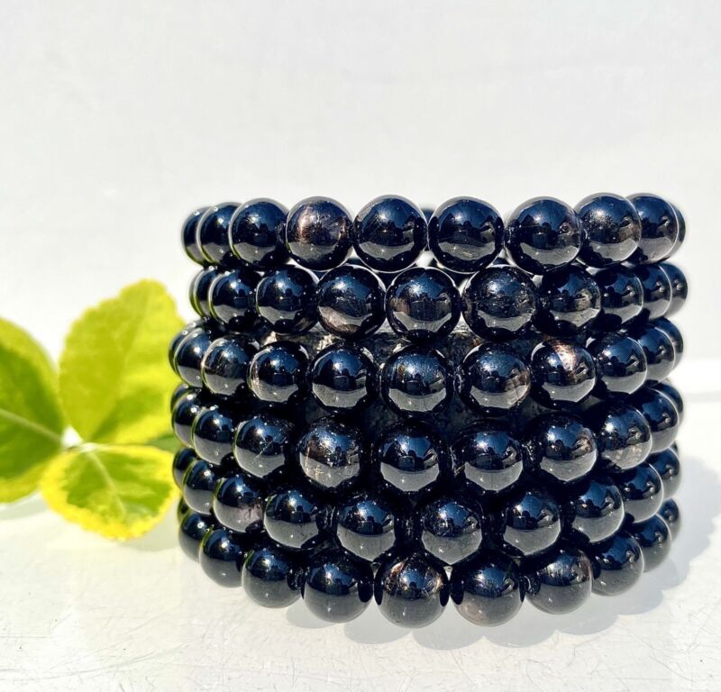 "Wholesale 6 Pcs Natural Hypersthene 8mm 7.5"" Crystal Healing Stretch Bracelet"