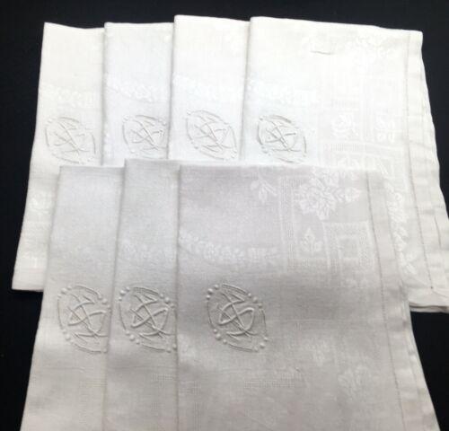 "Seven French Vintage Linen & Silk Table Napkins ""S"" Monogram"