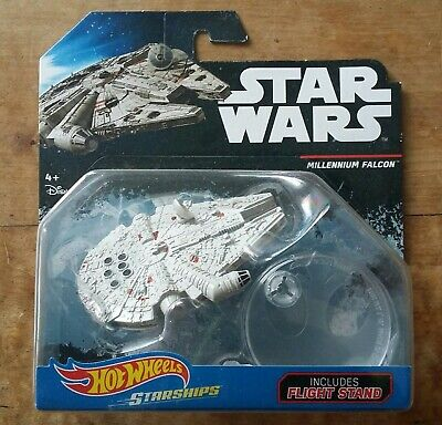 Hot Wheels Starships Star Wars Millenium Falcon includes flight stand