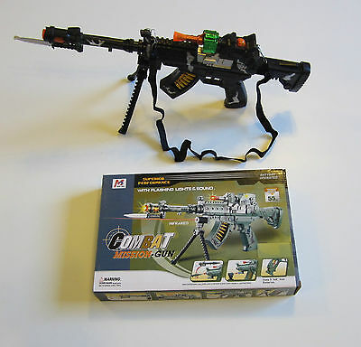 1 TOY MACHINE GUN WITH LIGHTS SOUND MOVING KNIFE & STAND MILTARY ASSAULT RIFLE - Toy Gun With Sound