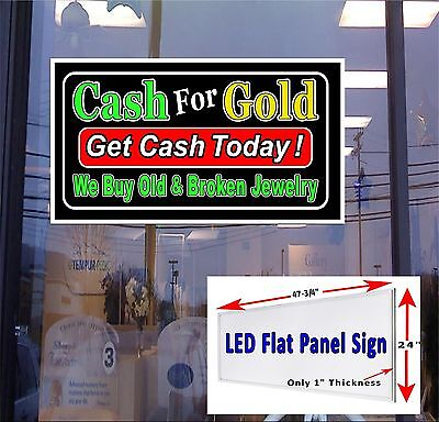Led Sign Cash For Gold Broken Jewelry Get Cash Today 48x24 Window Sign