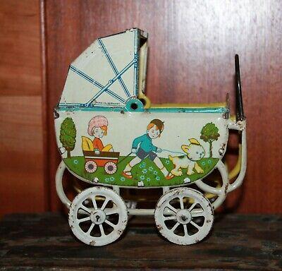 Miniature Tin Pram, Vintage Dolls Tin Toy, Baby Carriage 1920'S