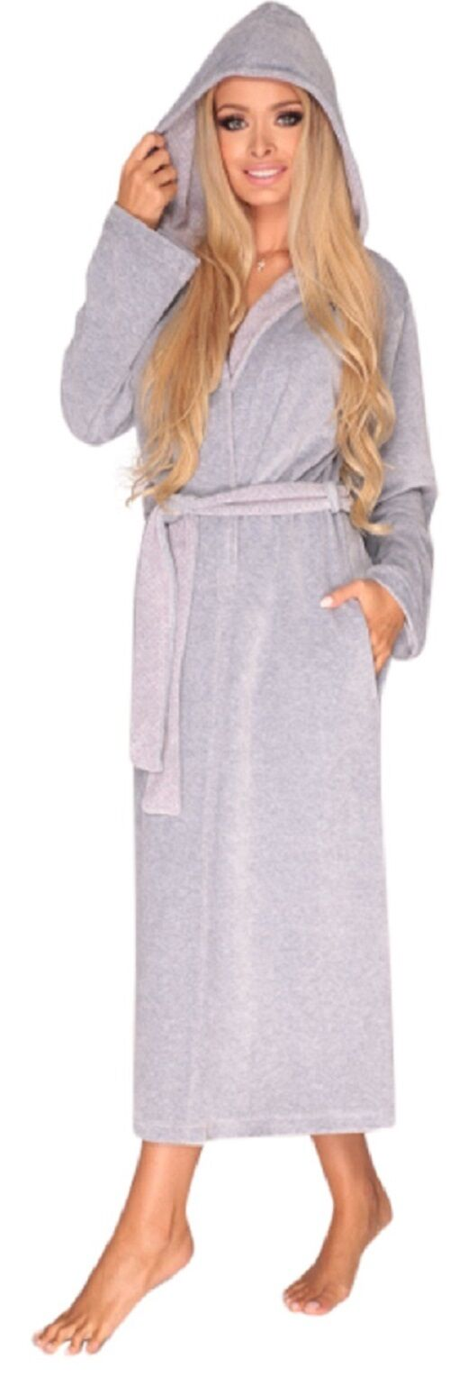5ade1355fa Ladies Girls Warm Hooded House Robe Long Cotton Dressing Gown Bathrobe