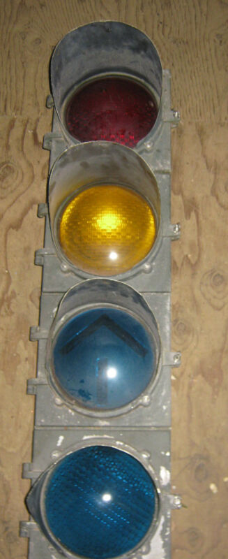 ANTIQUE TRAFFIC INTERSECTION LIGHT LAMP SCONCE SIGNAL FIXTURE METAL GLASS TRAIN