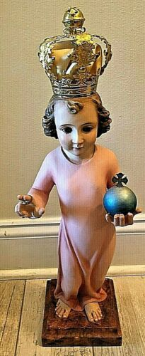 VINTAGE CARMELITE NUNS CONVENT INFANT JESUS OF PRAGUE STATUE GLASS EYES OLOT