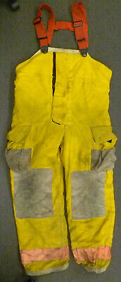 40x34 Globe Yellow Firefighter Pants W Suspenders Turnout Bunker Fire Gear P032