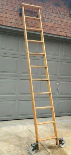 VINTAGE ROLLING LIBRARY LADDER WOOD STEEL BOOKCASE LADDER ANTIQUE COLLECTIBLE