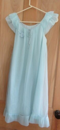 VINTAGE 1960s TURQUOISE NYLON NIGHTGOWN Size Small