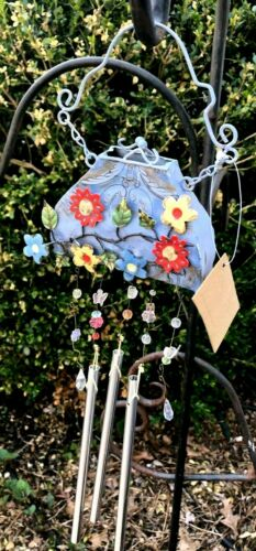 NCE METAL KATHY HATCH WIND CHIME - MISS DAISIES PURSE (BLUE)