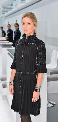 CHANEL 15B LITTLE BLACK LESAGE LOGO GRAFITTI DRESS 38 MOST WANTED! gripoix -