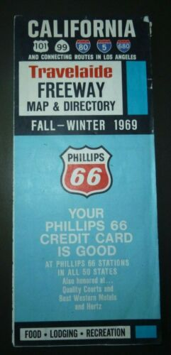 1969 Fall Winter California road map Phillips 66 oil gas directory 101 99 I80 I5