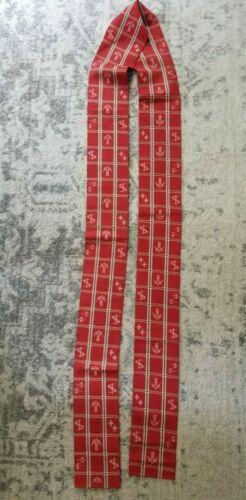 Vintage Japanese Red w/Green Plaid Obi Long Cloth Table Runner 11 Feet Long!