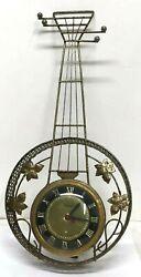 Vintage UNITED Brass Electric Wall Clock, Banjo Guitar Shape, Model No. 260, USA