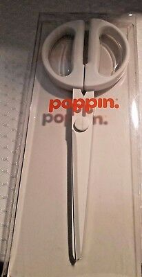 New Poppin White Scissors 9 Length Teflon Coated Stainless Blades Modern Look