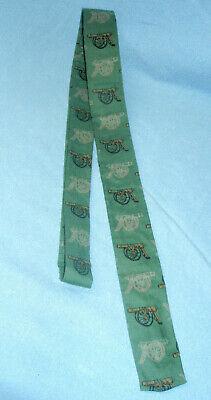 1960s – 70s Men's Ties | Skinny Ties, Slim Ties 1960s DESIGNER'S CORNER Green Cotton Skinny Cannon Artillery Cravat Necktie Tie  $12.99 AT vintagedancer.com