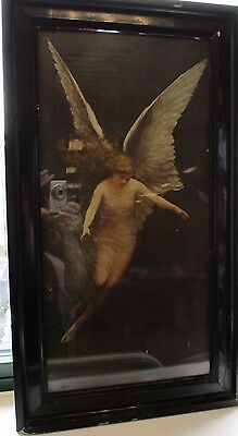 Antique Pre Raphaelite Period 19 century canvas Print of Angel Framed monogramed