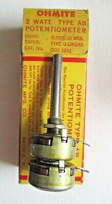 Ohmite Usa Dual Potentiometer Ccu 1041 Type Ab U Linear 0.10.1 Megohms Vintage