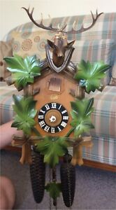 Vintage 8 day Schatz painted Black Forest cuckoo clock