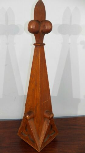 "Stunning Antique Gothic Large 32"" Wood Finial  Post End Cap Victorian Oak church"