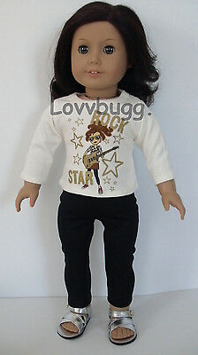 Rock Star T-Shirt and Leggings for American Girl 18 inch or Bitty Baby 15 inch Doll Clothes