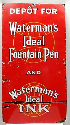 VINTAGE AMERICAN SIGN WATERMAN'S FOUNTAIN PEN & INK PORCELAIN ENAMEL NEW YORK