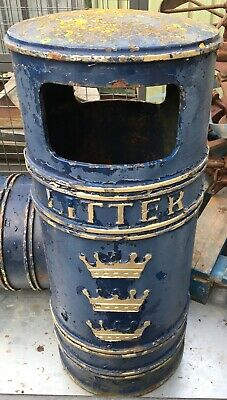 Original Cast Iron Litter Bin Garden Planter Post Box Vintage London Rubbish Bin