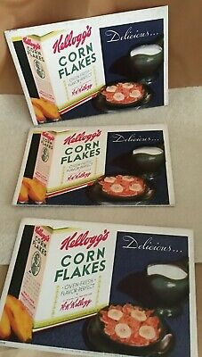 LOT OF 3 ANTIQUE/VINTAGE KELLOGG'S CORN FLAKES INK BLOTTERS ADS