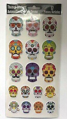 17 Day Of The Dead Dia De Los Muertos Stickers Party Favors Sugar Skull (Dia De Los Muertos Party Supplies)