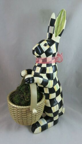Mackenzie Childs - Courtly Check - Easter Bunny Rabbit with Basket - Table Decor