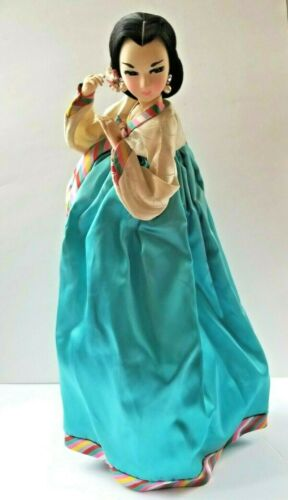 "Vintage 1970 Korean Doll Traditional Dress 18"" Tall"