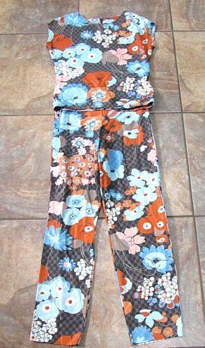 Vtg 60s 70s Hippie MOD Boho Pants Top FLORAL Dress Outfit  M high waist knit tal