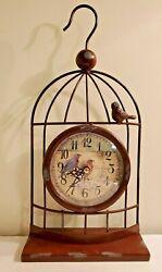 Working Half Bird Cage Clock Metal Wall Shelf Mantel Decor