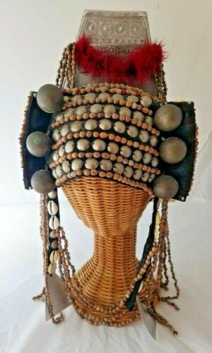 Vintage Thai Beaded Akha Headdress, Flying Elephants North Thailand Hill Tribes